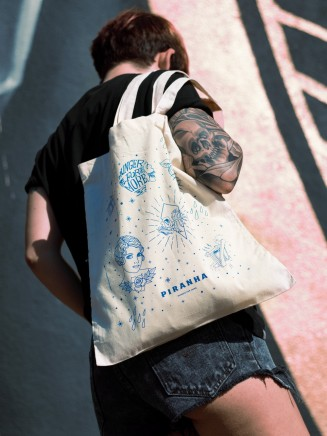 Piranha Stencil Tote Bag